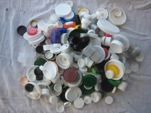 A year's worth of plastic caps
